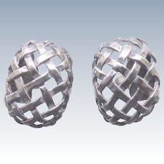 Older Vintage Sterling Silver Earrings Open Criss Cross Weave Pattern