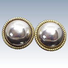 Vintage Mexican Sterling Silver Earrings - Silver Domes with Brass Rope Border