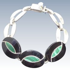Mexican Sterling Silver Bracelet With Malachite and Black Stone Center Links - Signed TS-101