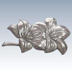 Vintage Sterling Silver Flower Brooch by Lang Sterling