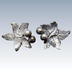 Vintage Sterling Silver Earrings With Leaf and Berries