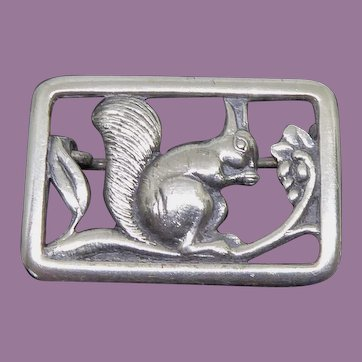 Arts & Crafts Era Squirrel Pin In Sterling Silver