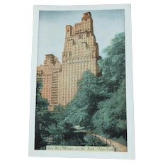 Vintage Unused Postcard St Moritz On The Park Hotel New York City Oct 1951