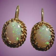 Beautiful Vintage 14K Gold & Opal Earrings - Screw Backs