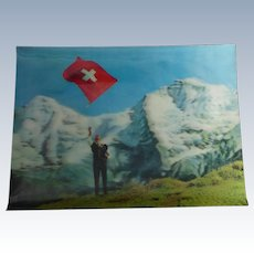 Vintage 3D Postcard Swiss Flag Thrower Posted in 1974 - Speaks of High Cigarette Prices