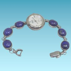 Beautiful Signed Badavici Sterling Silver & Lapis Lazuli Wristwatch