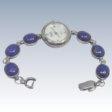 Beautiful Signed Badavici Sterling Silver & Lapis Lazuli Wristwatch