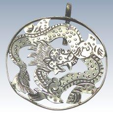 Fabulous Vintage Silver Chinese Dragon Cutout Pendant