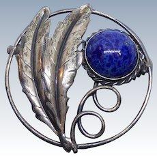 Vintage Script Signed Coro Sterling Brooch With Mottled Blue Art Glass & Leaves