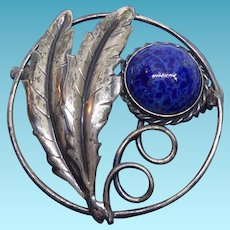 Vintage Script Signed Coro Sterling Brooch With Mottled Blue Art Glass & Leaves