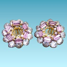 Pretty Vintage Earrings With Purple Baguettes and Clear Round Crystals