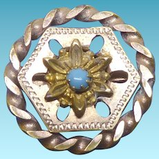 Sweet Antique Victorian Era Pin With A Flower In Unusual Setting With Twisted Border