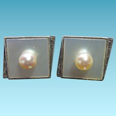 Elegant Modernist Sterling Silver, Mother of Pearl & Pearl Cuff Link - Perfect For Wedding or Prom
