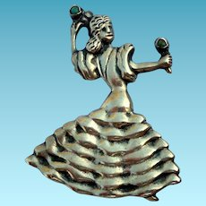 Vintage 1940s Mexican Sterling Silver Flamenco Dancer Large Brooch
