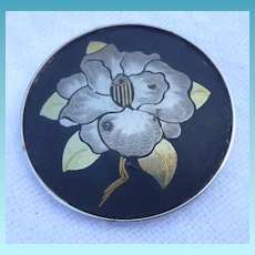 Beautiful Sterling Silver Damascene Floral Brooch Signed Amita - Japanese Sterling Silver