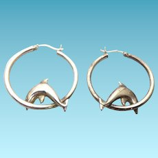 Large Sterling Silver Dolphin Jumping Through Hoops Earrings