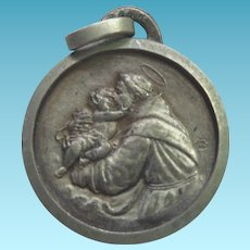 Vintage Saint Anthony Baby Jesus Medal Made In France Signed JR or JB