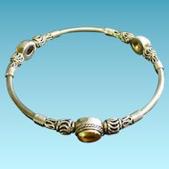 Sterling Silver BA Suarti Bangle Bracelet With Citrine Gemstone Stations