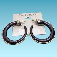 Vintage Erica Lyons Faux Tortoiseshell Hoop Earrings For Pierced Ears