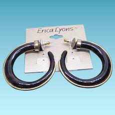Vintage Erica Lyons Faux Tortoiseshell Hoop Earrings For Pierced Ears