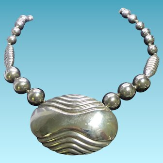 Bold Chunky Signed Dauplaise Silvery Bead Necklace With Big Pendant - Statement Piece!