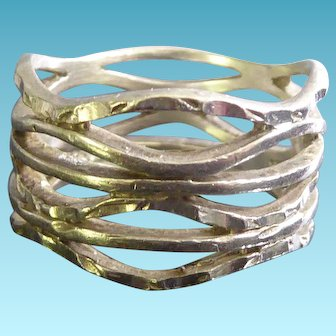 Beautiful Wide Sterling Silver Band Ring Size 8