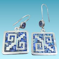 Mexican Sterling Silver Earrings Mosaic Inlay Signed TC-05