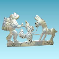 Mexican Sterling Silver Caricature Brooch Signed MBM Iguala Man Tying Donkey or Burro To A Cactus