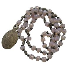 Beautiful Small Antique Rosary or Chaplet with Pink Opal Glass Beads & Miraculous Medal