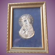 Vintage Framed Icon Our Lady Of The Gate Of Dawn - Our Lady Of Ostrabrama