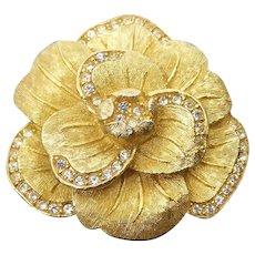 Beautiful Signed Christian Dior Gold Plated & Rhinestone Dimensional Flower Brooch