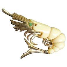 Vintage 1960s Shrimp or Prawn Brooch Signed Sphinx - Goldtone and Creamy Resin