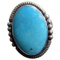 Native American Fred Harvey Era Sterling Silver & Turquoise Ring Maisels Trading Post