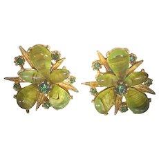 Striking Estate Found Green Art Glass & Crystal Earrings In Golden Settings Clip On
