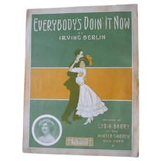 "1911 Sheet Music by Irving Berlin ""Everybody's Doin It Now"" Artwork by Gene Buck Published by Ted Snyder"