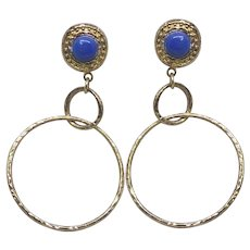 Beautiful Italian Gold Over Sterling Silver Earrings With Lapis Lazuli Stones Signed Etrusca
