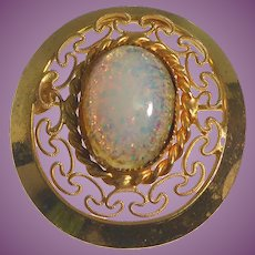 Pretty Filigree Brooch With Iridescent Faux Opal Glass Center