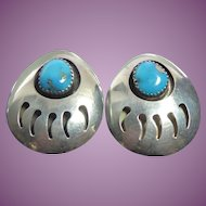 Native American Sterling Silver Turquoise Large Bear Claw Earrings Turquoise Has Silver Matrix