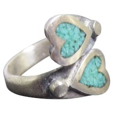 Vintage Sandcast Native American Silver Inlaid Turquoise Heart Bypass Ring