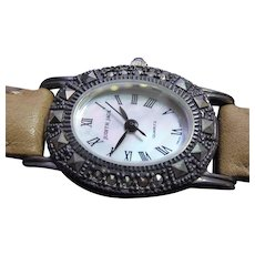 Signed Judith Jack Wristwatch Sterling Silver Marcasite Case Leather JJ Band Quartz Runs