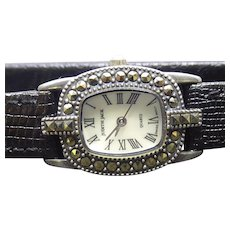 Signed Judith Jack Wristwatch Sterling Silver & Marcasite Case - Black Leather JJ Band