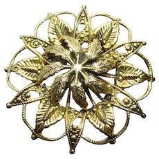 Golden Victorian Revival Granulated Filigree Brooch Signed Freirich Botanical Design