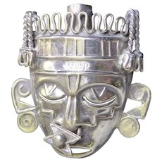 Vintage Signed Mexican Sterling Silver Aztec Mask Brooch Signed RBZ