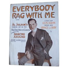 Antique Sheet Music 1914 Al Jolson Everybody Rag With Me From Dancing Around