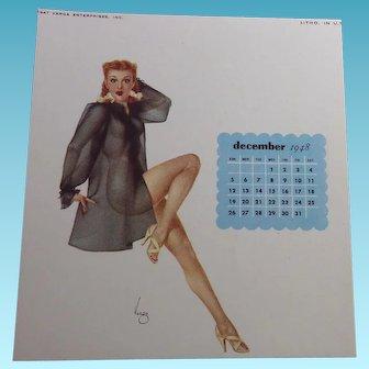 Varga Girl Pin Up December 1948 Calendar - by Joaquin Alberto Vargas