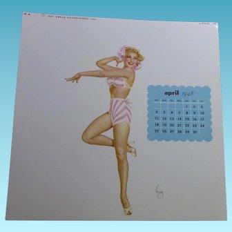 Varga Girl Pin Up April 1948 Calendar - Image by Joaquin Alberto Vargas