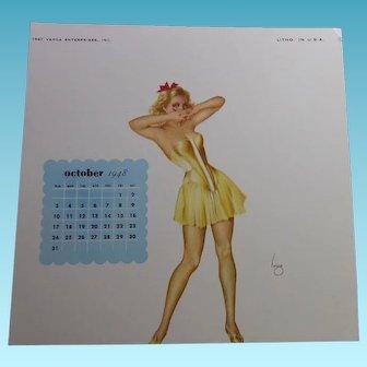 Varga Girl Pin Up October 1948 Calendar Image - Joaquin Alberto Vargas