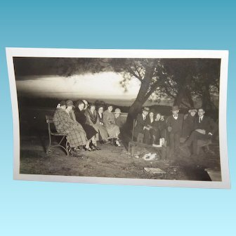 Small Antique 1920s Photo Group Young People Campfire Banff National Park Art Deco Era Fashion