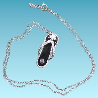 Sterling Silver Sandal Pendant Necklace - Decorated with Crystals