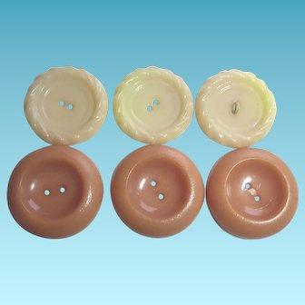 Vintage Plastic Buttons - 3 & 3 Pie Pan Buttons